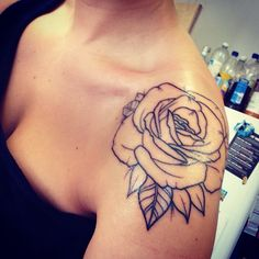 Rose shoulder tat.. would love this with some watercolor shading!!!!