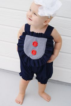 RUFFLE ROMPER - Bubble Romper Girls - Nautical -children Baby Bloomers Ruffle Bib, First Birthday - Toddler Summer Dress, Outfit Jumper Suit. $39.99, via Etsy.