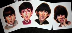 The Beatles  caricatures set of 4 prints s/n 8.5 x 11 by rjfro22, $65.00