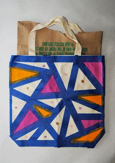 Collect & Carry: DIY: Geometric Painted Tote Bags.  Could double up on Artist AND Craftsman with this project for Webelos