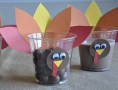 Cute and super easy Thanksgiving Turkey cups! Making these for the kiddos!