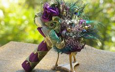 Peacock Feather Purple Green  Brooch Bridal by jcmartanddesign, $160.00