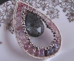 Spinel Tourmalinated Quartz purple pink black necklace $65