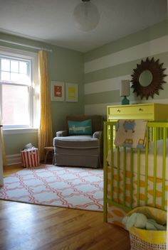 Woodland Striped Nursery Room View