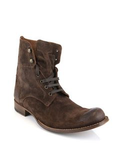 John Varvatos Waxed Suede Boots / Matches