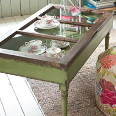 table displays, green coffee, teas, old windows, door, window coffee tables, tea cup display ideas, coffe tabl, china