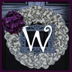 Chevron Burlap Wreath with Initial, Frame and Burlap Hydrangea-Wedding Decor-Front Door Wreath-Monogram Wreath-All Year Wreath