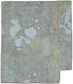 'Tundra' map art quilt by Leah Evans
