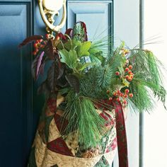 Hang this drawstring bag on the front door to welcome visitors or use the woodsy delight inside to collect holiday cards.
