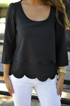 scalloped clothes, dream closet, scallop top, black white, scalloped tops, white jeans, scalloped shirt, scallop shirt, tops with sleeves