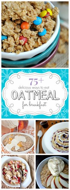 75 Ways to Eat Oatmeal for Breakfast - Oatmeal is seriously my new discovery, it tastes amazing, it's hot on cold winter mornings, easy to make, incredibly healthy, and not that high in calories! Forget pizza and ice-cream, this is the ultimate comfort food.
