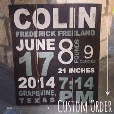 Personalized Birth Stats on Reclaimed Wood by loveKTdesigns, $70.00