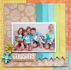 #papercraft #scrapbook #layout. Create a chevron pattern with the crimper by running paper through at an angle. I like the color blocking and title too