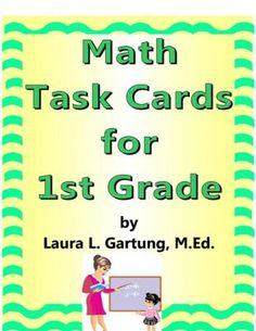 Math Task Cards for 1st Grade Sampler Set   Teachers Notebook