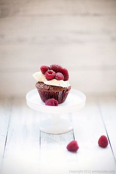 Raspberry brownie muffin