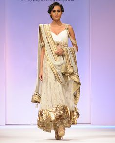 Off White Mukesh Suit with Diamante Straps - Exclusively In