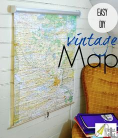 how to make a vintage roll-up map...from a shade! Awesome! challenges, rollup mapfrom, window blinds, vintage maps, roller blinds, bathrooms, world maps, vintag rollup, roller shades