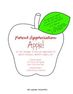 Free Parent Appreciation Apple for Parent Orientation Night! More
