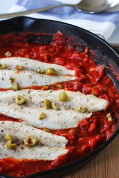 White Fish with Tomatoes and Olives Recipe | fakefoodfree.com