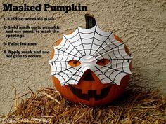 Masked Pumpkins! Pumpkin Decorating Ideas from East Coast Creative.