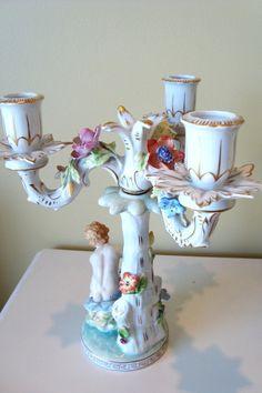 Antique Dresden Putti Candelabra 3 Arm Porcelain by edithandevelyn, $245.00