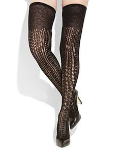 KATE SPADE Openwork Glimmer Over-The-Knee Socks