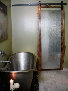alternative to a pocket door in the bathroom - not sure why to bother with it being see-thru