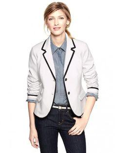 White stripe school boy blazer, $90, gapcanada.com