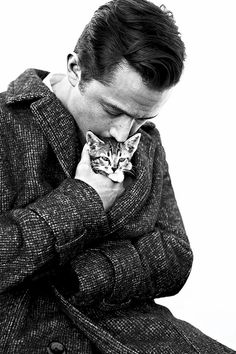Joseph Gordon-Levitt cuddling a kitten. Be still, our hearts<3!