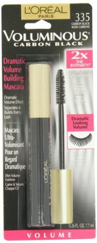 L'Oreal Paris Voluminous Mascara, Carbon Black, 0.26-Fluid Ounce - L'Oreal Paris Voluminous Mascara, Carbon Black, 0.26-Fluid Ounce  List Price: $7.95   Separates and builds lashes 5X fuller lashes Bold volume Made in Paris    List Price: $7.95 Your Price: $5.84-   Voluminous Carbon Black Volume Building Mascara is uniquely formulated to resist clumping, soften and build lashes up to 5X their natural thickness with 2X the intensity of your regular black shade. -The