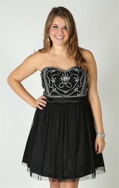 Deb Shops Plus Size Strapless #Homecoming Dress with Stone Bodice and A-Line Skirt $86.90