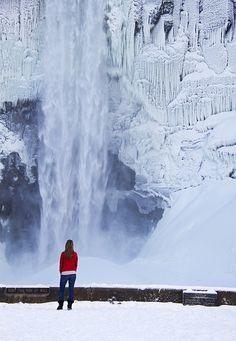 Taughannock Falls in winter, near Ithaca, New York.  Winter Fall by Matt Champlin