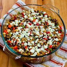 Vegetarian Greek Lentil Casserole Recipe with Bell Peppers and Feta from Kalyn's Kitchen