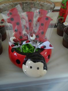 Chocolate lollipops at a Ladybug Girl Birthday Party!  See more party ideas at CatchMyParty.com!