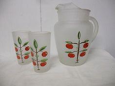 Vintage Hazel Atlas Frosted Cherry / Apple 2 Quart Ice Lip Pitcher & Glass Set