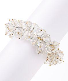 Gold & Clear Cluster Crystals Bracelet