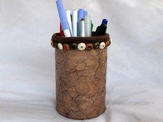 Faux leather pen holder for Dad's desk