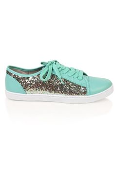 Deb Shops #mint low top #sneaker with #glitter