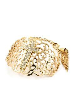 Golden Cross Filigree Bracelet.