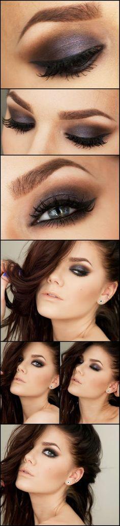 Purple Toned brown smokey eye makeup look and natural nude lip by makeup artist Linda Hallberg.