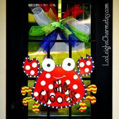 Door Hanger Crab Summer Door Decoration beach by LooLeighsCharm, $45.00