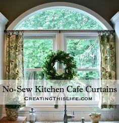 No Sew Cafe Curtains #DIY #Decor #Curtains