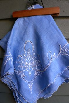 Vintage French Blue Tablecloth White Embroidery by LunaParkVintage