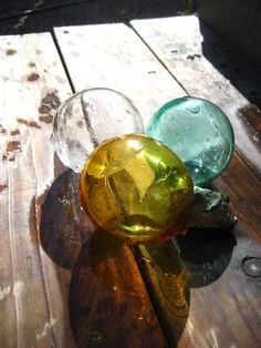 vintage glass fishing floats.