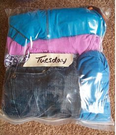 Pack clothes by day and in air tight bags to save space!