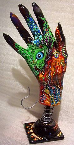 """""""Evil Eye Muse"""" Fibre glass mannequin hand primed, painted laquered, hand made stand/pedestal - Salvaged mannequin hand """"sculptures"""" painted, assemblage, varnish-  Hand Art at Sterlingartz #upcycle #art #sculpture #recycle"""