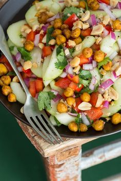 Thai Inspired Cucumber Salad with Roasted Spiced Chickpeas