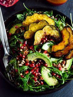 Autumn arugula salad with caramelized squash + pomegranate ginger vinaigrette
