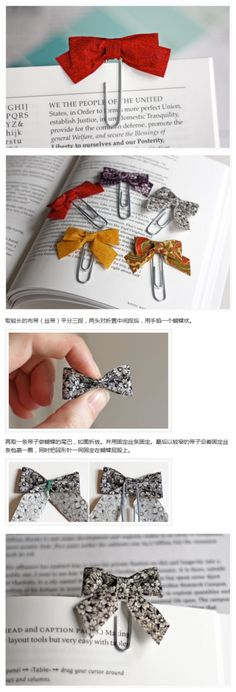 Bow and Paperclip Bookmarks....SwEeT!