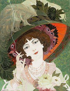 """Georges de Feure """"La Fumeuse"""" (3) 1910"""